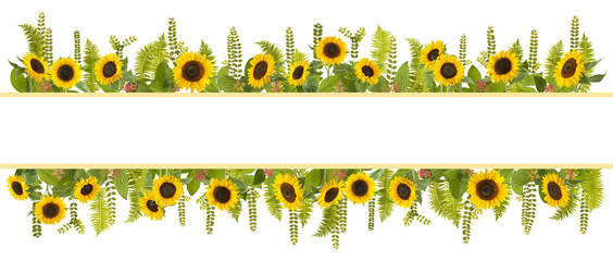 adorable sunflower background with fern and leaves, free space for your text