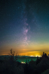 The Milky Way as seen from the Black Forest High Road near the lake Mummelsee at Seebach in Germany.