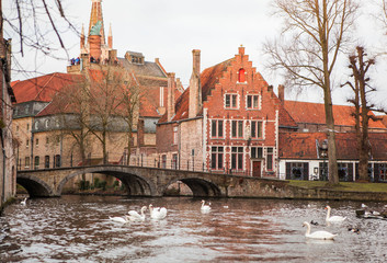 The view of Bruges from the river.