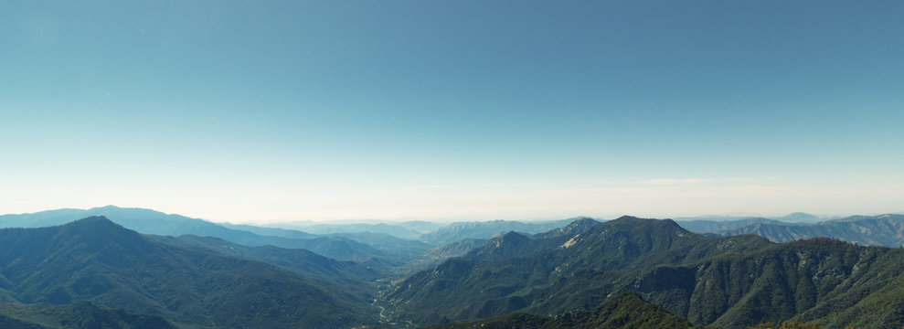 Panorama from Moro Rock in Sequoia National Park, California USA