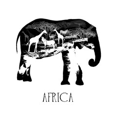 Hand drawn sketch style abstract African animals. Vector illustration isolated on white background.