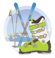 ski boot, ski poles and pair of skis on snow with mountains in the background