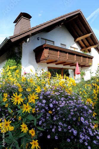 Blumengarten Im Herbst Mit Topinambur Und Herbstaster
