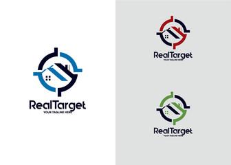 Real Target Logo Template Design Vector, Emblem, Design Concept, Creative Symbol, Icon