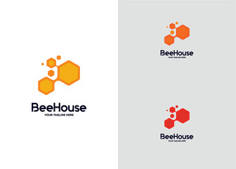 Bee House Logo Template Design Vector, Emblem, Design Concept, Creative Symbol, Icon