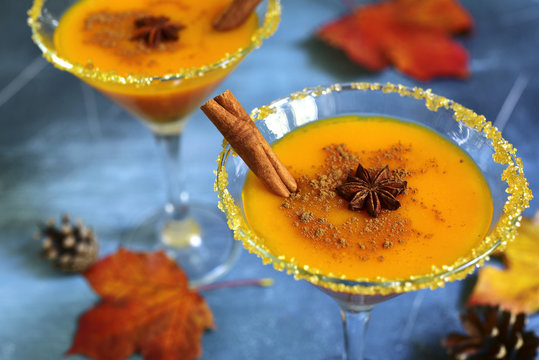 Pumpkin cocktail in a martini glasses.