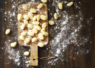 Uncooked homemade potato gnocchi
