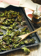 Kale chips with sea salt, selective focus