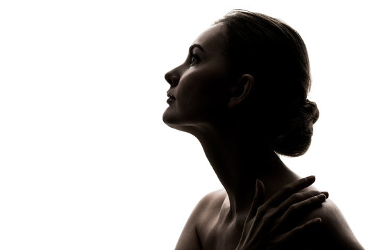 Silhouette of caucasian woman.