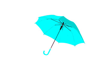 Umbrella light blue isolated on white background, object of protection against rain