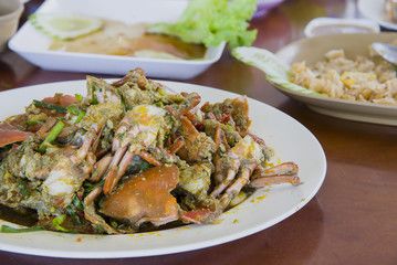 Spicy fried crab with curry powder, delicious thai food,Selective focus.