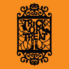 Paper Cut Silhouette Halloween Trick Or Treat Ornate Frame