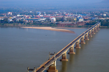 Lao-Nippon Bridge, a Japanese-funded concrete suspension bridge over Mekong River at southern Lao town of Pakse in Champasak Province, Lao PDR.