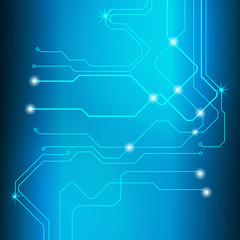 Blue Abstract Circuit Board Hi Technology Scifi Idea Concept Vector Background