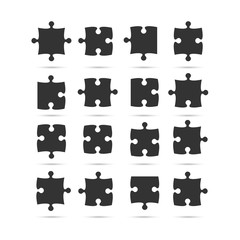 Black Piece Puzzle Jigsaw. Vector Object.