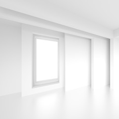 Abstract Interior Concept. White Modern Room with Window