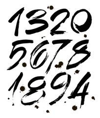 Vector set of calligraphic ink numbers for your design, brush lettering