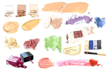 Many various make up products isolated