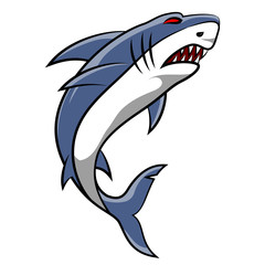 Angry shark cartoon on white background. Vector illustration