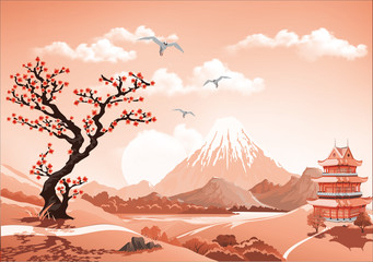 Landscape of nature Asia this morning, Asia Palace, volcano, mountains, rivers, and hills with trees. The Sakura flowers. Vector illustration