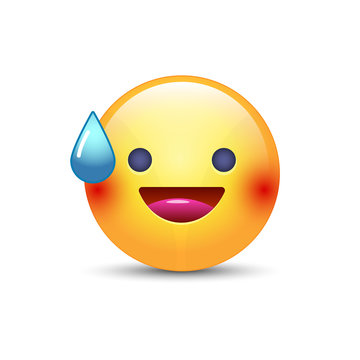 Smiling Face with Open Mouth and Cold Sweat. Smiling emoticon mood.