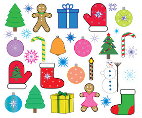 Christmas (new year) icons set, vector.