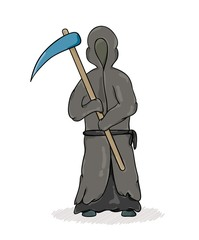 death reaper with dark robe and hood and scythe