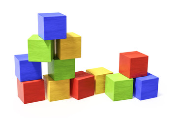 some colorful building blocks