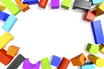 some colorful building blocks with space for your content