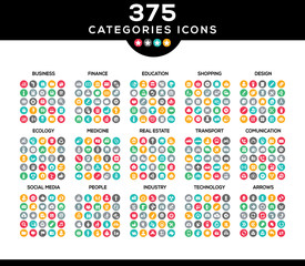 375 icons pack for webdesign. Set of vectors.