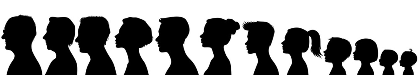 Head silhouettes of people. Black and white Wall mural