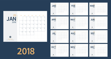 Vector of 2018 new year calendar in clean minimal table simple style and blue and yellow color,Holiday event planner,Week Starts Sunday,A5 size