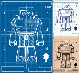 Robot Blueprint Cartoon / Cartoon blueprint of giant robot in 3 versions.