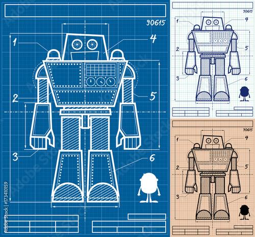 Robot blueprint cartoon cartoon blueprint of giant robot in 3 robot blueprint cartoon cartoon blueprint of giant robot in 3 versions malvernweather Choice Image