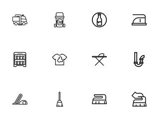 Set Of 12 Editable Cleaning Outline Icons. Includes Symbols Such As Organic Residues, Brush, Metal Board And More. Can Be Used For Web, Mobile, UI And Infographic Design.