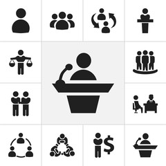 Set Of 12 Editable Business Icons. Includes Symbols Such As Member, Finance Director, Friendship And More. Can Be Used For Web, Mobile, UI And Infographic Design.
