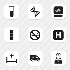 Set Of 9 Editable Clinic Icons. Includes Symbols Such As Hospital Assistant, Genome, Wound Band. Can Be Used For Web, Mobile, UI And Infographic Design.