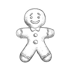 Hand drawn sketch gingerbread man icing decorated. Traditional Christmas cookie. Vector hand made illustration.
