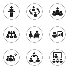 Set Of 9 Editable Business Icons. Includes Symbols Such As Teamwork, Speaker, Partnership And More. Can Be Used For Web, Mobile, UI And Infographic Design.