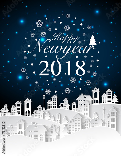 Party Happy new year 2018 on urban and full moon background with ...