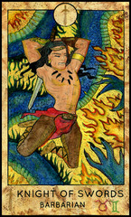 Barbarian. Minor Arcana Tarot Card. Knight of Swords. Fantasy graphic illustration