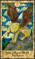 Gryphon. Minor Arcana Tarot Card. Ten of Swords. Fantasy graphic illustration