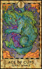 Giant sky whale. Minor Arcana Tarot Card. Ace of Cups. Fantasy graphic illustration