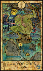 Ghoul. Minor Arcana Tarot Card. Four of Cups. Fantasy graphic illustration