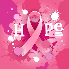 Breast Cancer Awareness Month Pink Ribbon Symbol Flat Vector Illustration