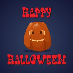 Happy Halloween Banner Pumpkins Traditional Decoration Greeting Card Flat Vector Illustration