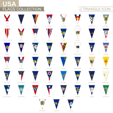 Flags of USA states, all State flags. Triangle icon.