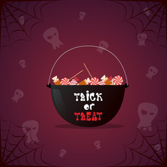 Silhouette Witch Pot With Potion And Skull Happy Halloween Banner Holiday Decoration Horror Party Greeting Card Flat Vector Illustration