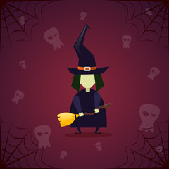 Silhouette Witch Skull Happy Halloween Banner Holiday Decoration Horror Party Greeting Card Flat Vector Illustration