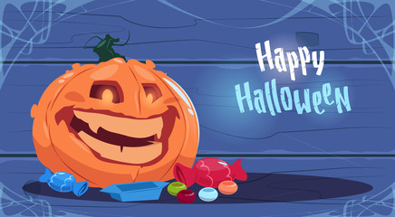 Happy Halloween Party Banner Big Pumpkin Traditional Decoration Greeting Card Flat Vector Illustration